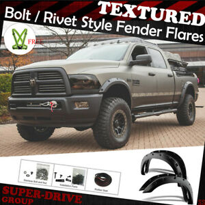 For 2009 2018 Dodge Ram 1500 Fender Flares Pocket Riveted Black Textured Paintab