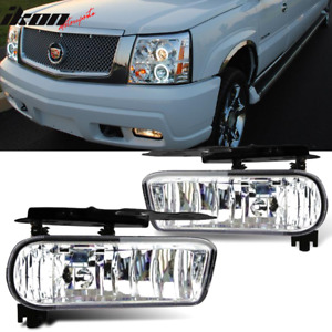 Fits 02 06 Cadillac Escalade Oe Front Fog Light Lamp Foglight Clear Lens Pair