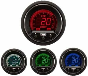 Prosport Universal 52mm Premium Evo Electrical Boost Gauge Red white blue green