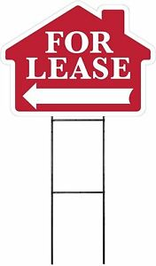 Large 18 x24 Home For Lease Red House Shaped Sign Kit With Stand