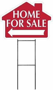 Large 18 x24 Home For Sale Red House Shaped Sign Kit With Stand