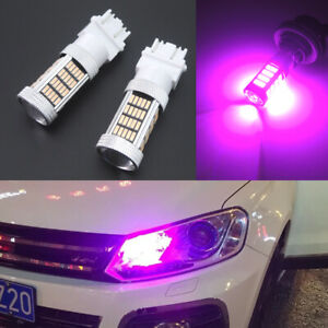 2pcs Pink 92 4014 Smd Led Drl Daytime Running Lights Bulbs 3157 3156 4114 4157