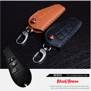 Leather Car Remote Key Fob Case Holder Cover For Jeep Grand Cherokee 2 3 6 Btns