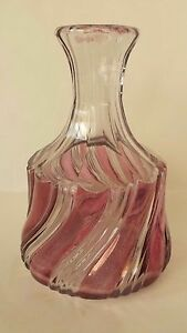 Dark Pink Duncan And Miller Eapg 2 Ply Swirl Glass Wine Decanter 8 X 5 1 2