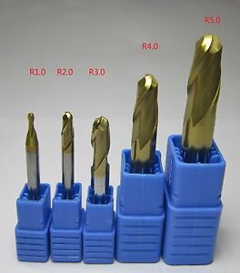 5pcs Radius 1mm 5mm Hrc58 2 Flute Carbide Ball Nose End Mill Set Milling Cutter