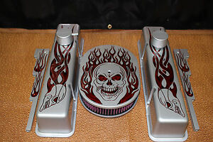 New Silver Chevy Skull Tangrine Candy Flame Engine Dress Up Kit Show Quality