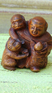 Old Japanese Carved Wood Netsuke Man With Peach And Two Monkeys