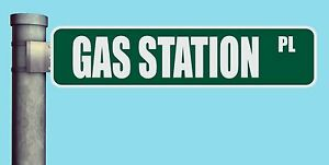 Gas Station Pl Street Sign Place Heavy Duty Aluminum Road Sign 17 X 4