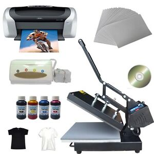 Flat Heat Press Printer C88 Ciss Ink Inkjet A4 Paper T shirt Cd Transfer Kit