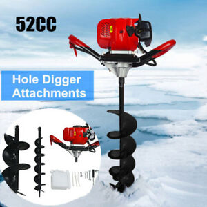 52cc Petrol Earth Auger 2 2hp Post Hole Borer Ground Drill W 6 10 Bits Kit