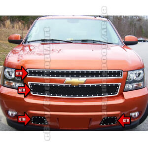 For Chevy Tahoe 2007 2014 3pc Black Mesh Rivets Grille Combo Upper Bumper Tow