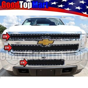 For Chevy Silverado 2500hd 3500hd 2011 2014 Black Mesh Rivet Grille 3pc Combo