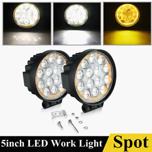 5inch Amber White Led Pods Light Bars Fog Lamp Offroad 4x4 Atv Waterproof Round