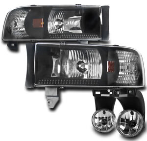 1994 2001 Dodge Ram Truck Black Crystal Headlights Chrome Bumper Fog Light Combo