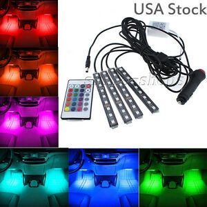 Rgb Colored Led Glow Interior Car Kit Under Dash Foot Floor Seat Accent Light a
