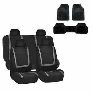Car Seat Cover Gray Black Set For Auto W Rubber Floor Mat