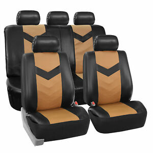 Faux Synthetic Leather Car Seat Covers For Auto Universal Fit Black Beige
