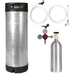Keg Kit 5 Gal Ball Lock Used Keg 5 Lb Co2 Tank Regulator Parts Ships Free