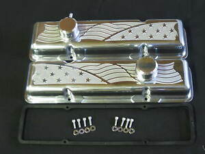 Custom American Flag Chevy Sb Sh Valve Cover Engine Kit Machined In America