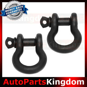 1 Pair 3 4 Black 4 75 Ton D Ring Bow Shackle Heavy Duty Off Road Atv Rv Bumper