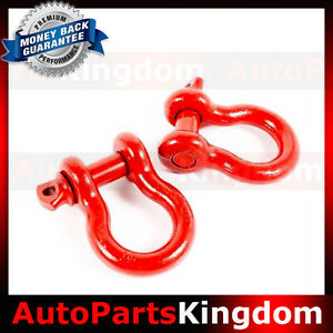 1 Pair 3 4 Red 4 75 Ton D Ring Bow Shackle Heavy Duty Off Road Atv Rv Bumper