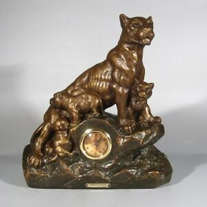 Vintage French Sculpture Statue Clock Lioness With Her Cubs Signed Artrolle