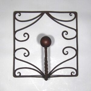 Vintage French Wrought Iron And Wood Coat Hook