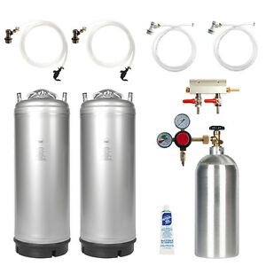 Dual Keg Kit Two 5 Gal Ball Lock Kegs Co2 Tank Regulator Parts Ships Free