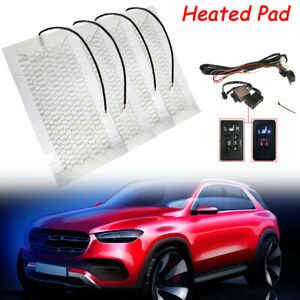 Universal 4pcs Car Carbon Fiber Seat Heated 2 Seat Winter Heater Pads L r Switch