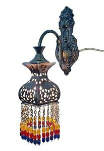 Br387 Antique Moroccan Oriental Style Color Beads Arm Wall Decor Sconce