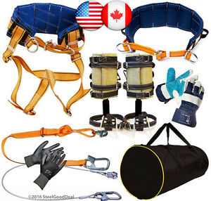 Tree Climbing Spike Set Spurs 2safety Lanyard Saddle Safety Belt Gloves Gear Bag
