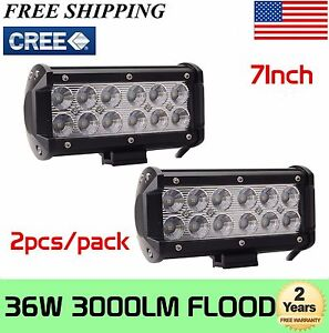 2pcs 7inch 36w Led Work Light Bar Flood For Offroad 4wd Boat Suv Fog Driving 72w