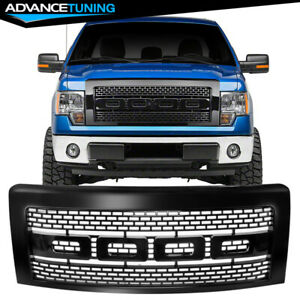 Fits 09 14 Ford F150 Raptor Style Front Bumper Grille Hood Grill Guards Black