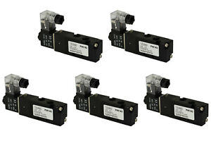 5x 12v Dc Solenoid Air Pneumatic Control Valve 5 Port 4 Way 2 Position 1 8 Npt