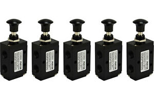 5x Hand Push Pull Pneumatic Air Control Valve 3 Port 3 Way 2 Position 1 4 Npt