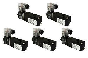 5x 110v Ac Solenoid Air Pneumatic Control Valve 3 Port 3 Way 2 Position 1 8 Npt