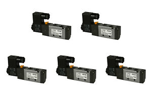 5x 12v Dc Solenoid Air Pneumatic Control Valve 5 Port 4 Way 2 Position 1 4 Npt