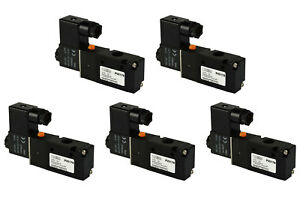 5x 12v Dc Solenoid Air Pneumatic Control Valve 3 Port 3 Way 2 Position 1 4 Npt