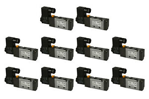 10x 24v Dc Solenoid Air Pneumatic Control Valve 5 Port 4 Way 2 Position 1 4 Npt