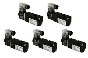 5x 24v Dc Solenoid Air Pneumatic Control Valve 3 Port 3 Way 2 Position 1 8 Npt