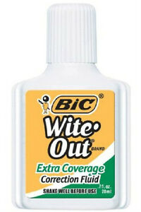 Bic Wite Out Extra Coverage Correction Fluid 0 7 Oz 3 Pack