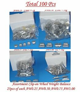 100 Pcs Assortment Clip on Wheel Weight Balance Aw Style 0 25 0 50 0 75 1 00 Oz