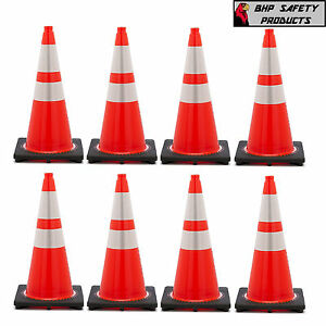 28 Inch Orange Safety Traffic Cones W 4 6 3m Reflective Collar 8 package