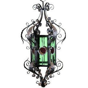 Antique French Wrought Iron Chandelier Lantern Green Red Colored Stained Glass