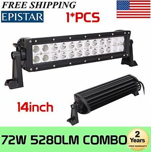 14inch 72w Led Work Light Bar Combo Boat Jeep Driving Lamp Off Road 4wd Epistar