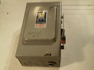 Used Square D Safety Switch 30 Amp 600 Vac 600 Vdc Cat hu361 Series D2