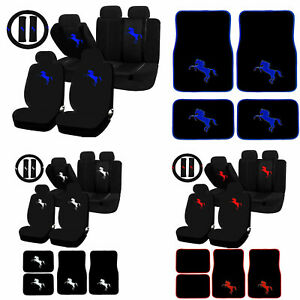 26pc Pony Horse Mustang Red White Blue Universal Seat Covers Carpet Mats Set