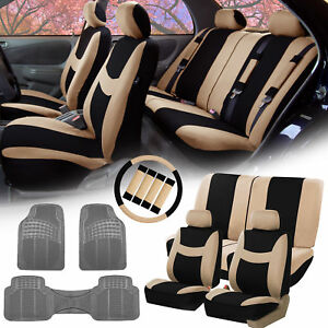 Beige Black Car Seat Covers Full Set W Heavy Duty Gray Floor Mat Combo