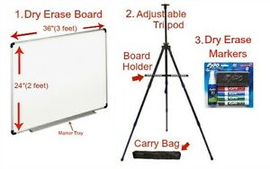 Dan s Universal Dry Erase Board Kit With Portable Tripod Stand And Marker Set