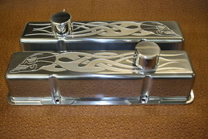 Chevy Skull Flames Small Block Tall Breathers Pcv Valve Covers Clerars Rollers